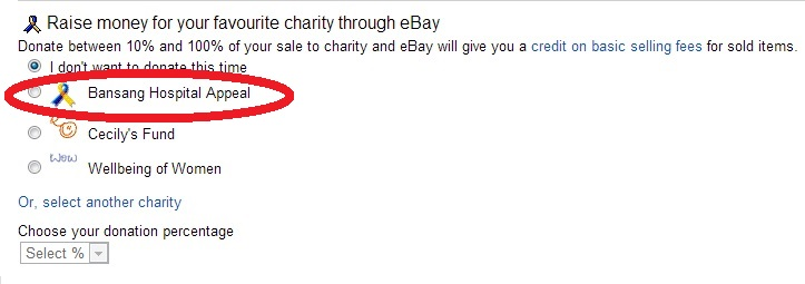 Raise money for your favourite charity - Ebay